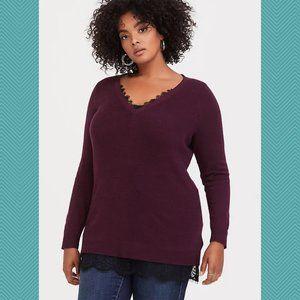 Torrid Burgundy V-Neck Lace Trim Sweater